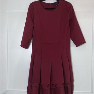 Wine Red Lace Cut Out Holiday Dress